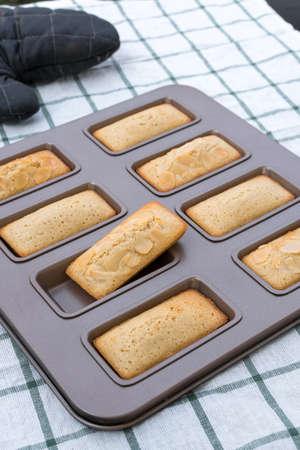 Baking Financier cake.