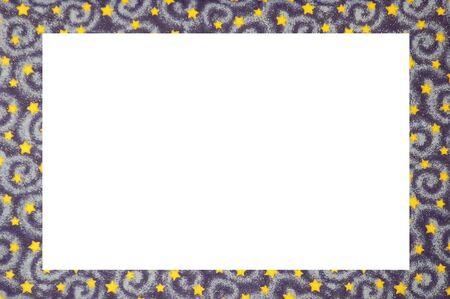 A frame with gold stars and blue swirls