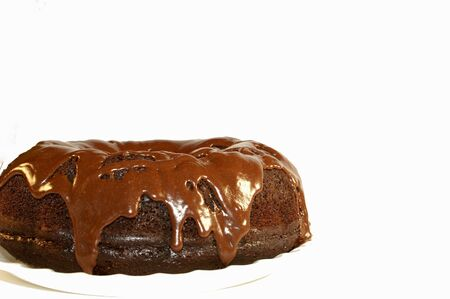 A frosted chocolate bundt cake