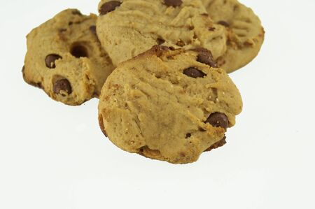 Peanut butter cookies on white