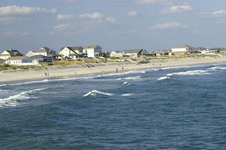 Beach front view of Topsail Island from the pier