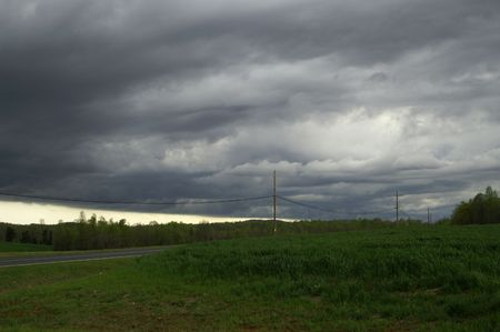 Ominous dark storm clouds over the landscape