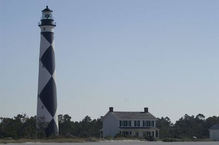 Cape Lookout Lighthouse and lighthouse keeper house