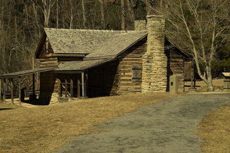 A shot of a historic log home. Фото со стока