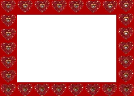 A frame created with glittery red  hearts Stock Photo - 781300
