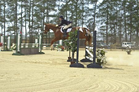 Horse and rider competing in horse show Stock Photo