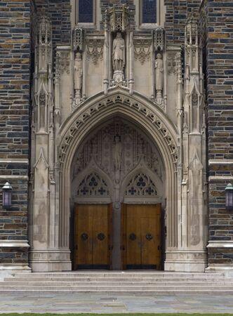An image of the chapel doors at Duke University