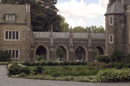 An image of the covered walkway at the University Chapel