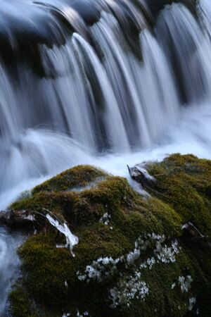 sichuan province: Small waterfall at Jiuzhaigou, Sichuan province, China.II Stock Photo