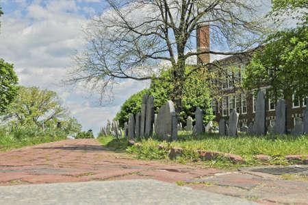 burying: Grave stones in Copp s Hill Burying Ground in Boston, Massachusetts  Stock Photo