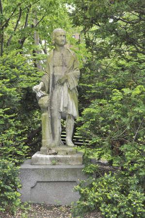 Statue of Christopher Columbus in Louisberg Square, the Beacon Hill area of Boston, Massachusetts