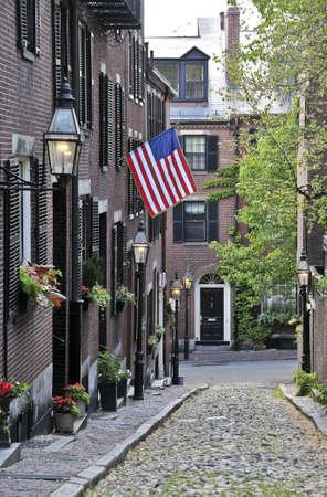 An American flag displayed on Acorn Street in Boston, Massachusetts