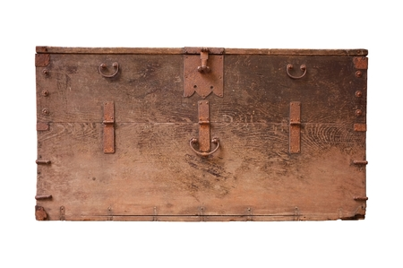 Front view of an old wooden chest isolated on a white background photo