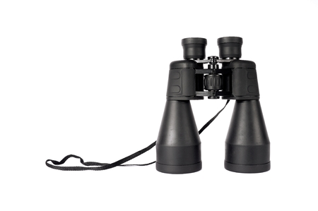 strap: large black binoculars with neck strap isolated on white