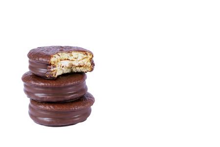 白で隔離チョコ パイ チョコレート ビスケット 写真素材