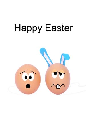 funny easter: funny easter eggs isolated on white