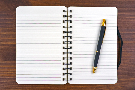 log book: blank open notebook and pen on wood background