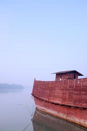 wooden noahs ark like boat
