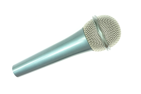 bluish colored microphone isolated on white
