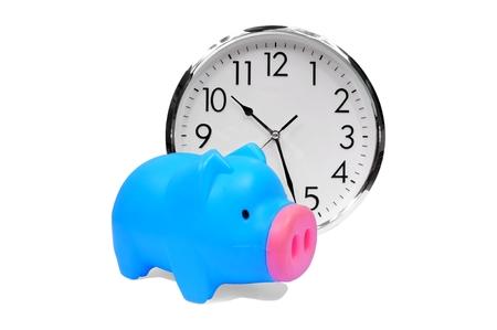 plastic piggy bank with clock