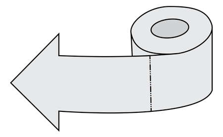 toilet roll: Left arrow made of toilet paper roll