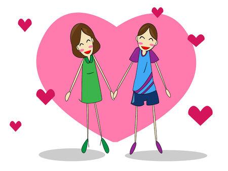 girlfriend and  boyfriend Illustration