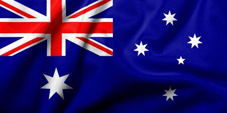 national colors: Realistic 3D flag of Australia with satin fabric texture. Stock Photo