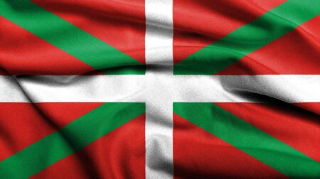Realistic 3D flag of Basque Country with satin fabric texture.