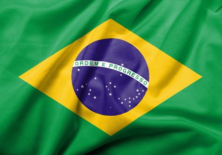 Realistic 3D flag of Brazil with satin fabric texture. photo