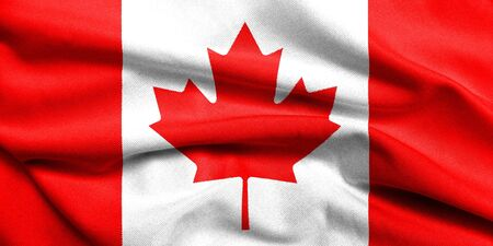 Realistic 3D flag of Canada with satin fabric texture. photo