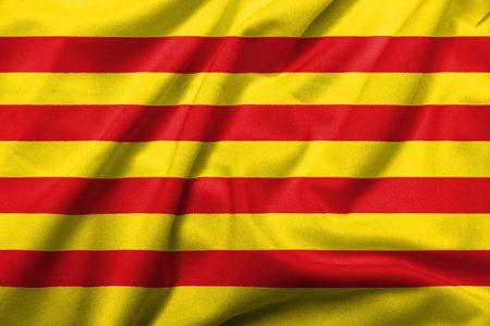 Bandera 3D realista de Cataluña con textura de tejido satinado.