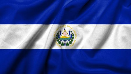 Realistic 3D flag of El Salvador with satin fabric texture. photo