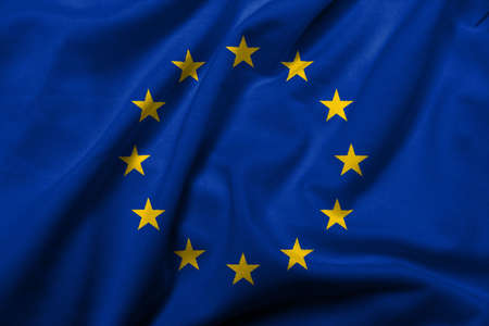 Realistic 3D flag of European Union with satin fabric texture.