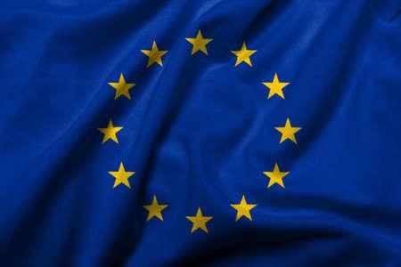 european economic community: Realistic 3D flag of European Union with satin fabric texture.