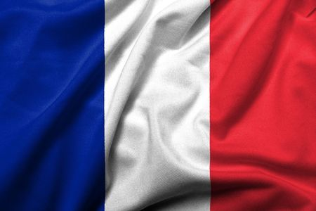 french symbol: Realistic 3D flag of France with satin fabric texture.