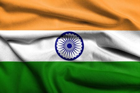 Realistic 3D flag of India with satin fabric texture. photo