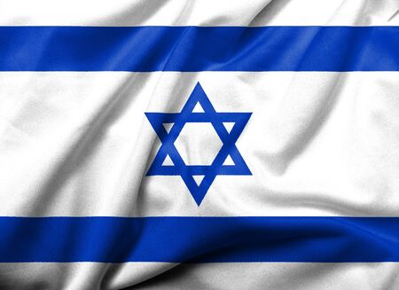 Realistic 3D flag of Israel with satin fabric texture.