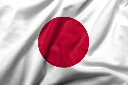 Realistic 3D flag of Japan with satin fabric texture. Stock Photo
