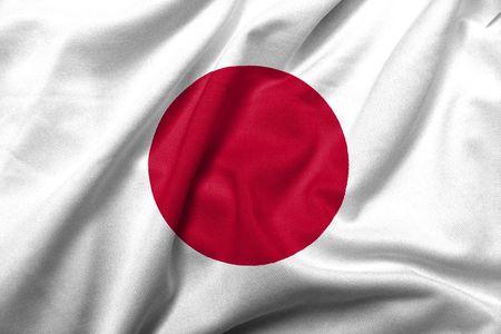 Realistische 3D Flagge Japans mit satin Fabric-Textur. Standard-Bild - 6619740