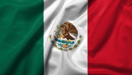bandera mexicana: Bandera 3D realista de M�xico con textura de tejido satinado.