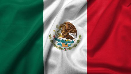 Realistic 3D flag of Mexico with satin fabric texture. Stock Photo