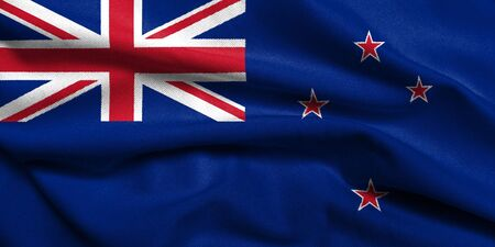 Realistic 3D flag of New Zealand with satin fabric texture. photo