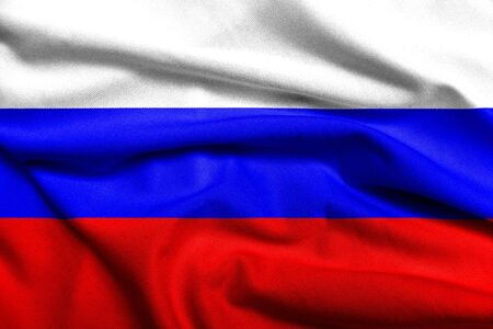 Realistic 3D flag of Russia with satin fabric texture.