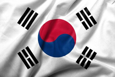 Realistic 3D flag of South Korea with satin fabric texture. Standard-Bild