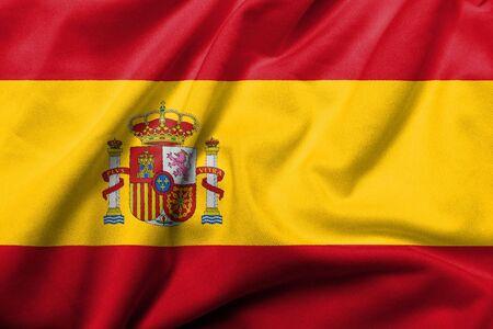 nacional: Bandera 3D realista de España con textura de tejido satinado. Foto de archivo