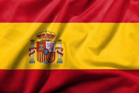 Realistic 3D flag of Spain with satin fabric texture.