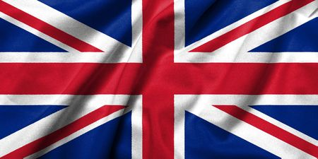 Realistic 3D flag of UK with satin fabric texture. photo
