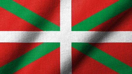 Realistic 3D flag of Basque Country with fabric texture waving.