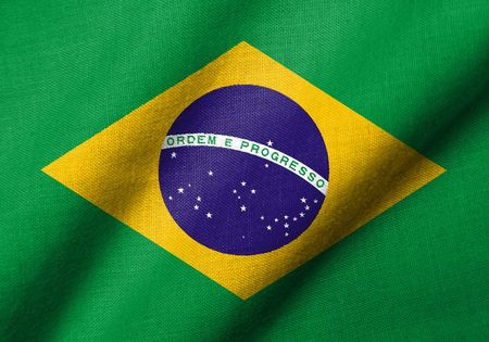 Realistic 3D flag of Brazil with fabric texture waving. Stock Photo