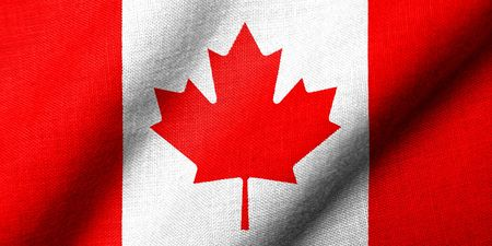 Realistic 3D flag of Canada with fabric texture waving. Stock Photo